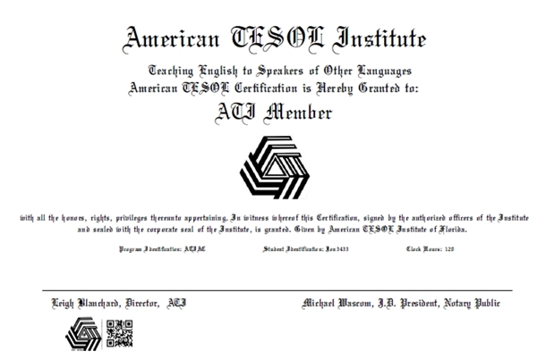 American TESOL Institute\'s Certification Issuance System – Update ...